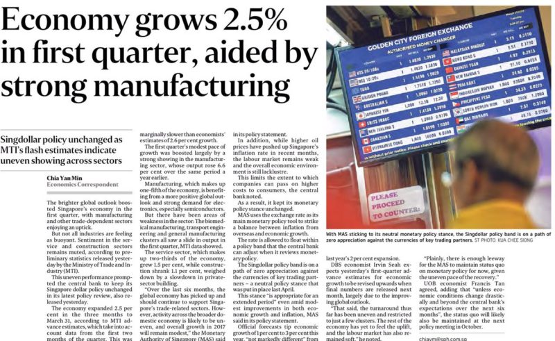 ST - Economy grows by 2.5% in Q1 2017