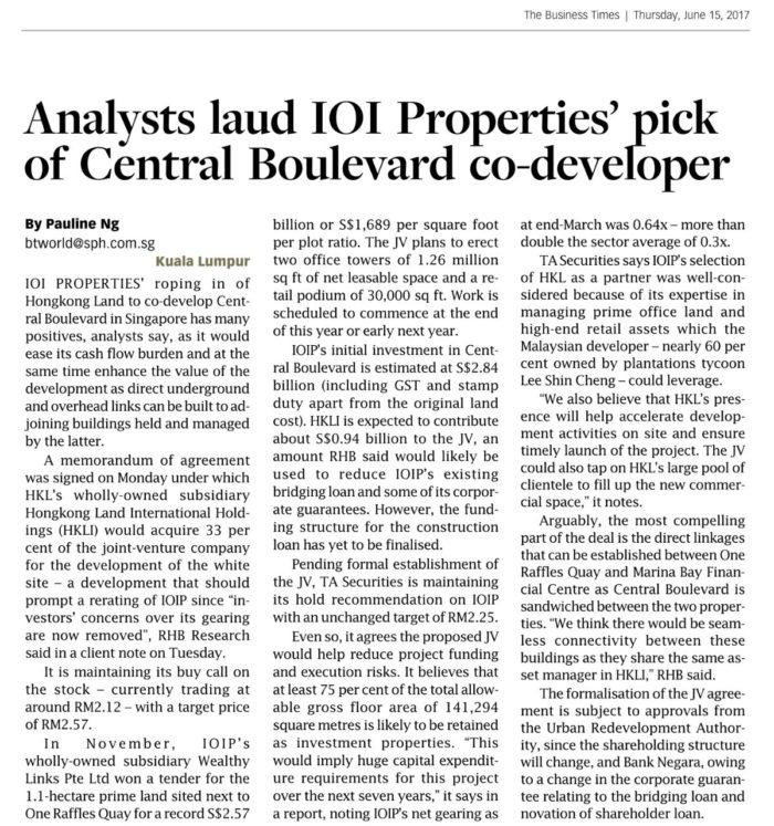 Central Boulevard developers