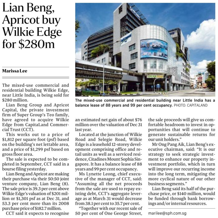 Wilkie Edge Sold For $280m