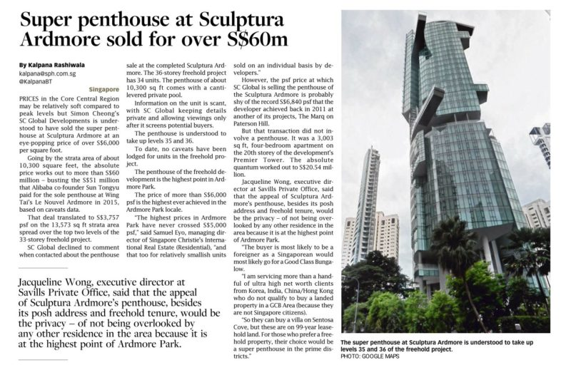 Sculptura Ardmore super penthouse sold for over $6000 psf for over $60m